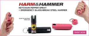 Harm And Hammer - Keychain pepper spray + escape hammer / Self Defense Products For Women