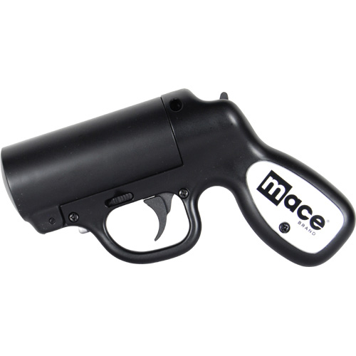 Mace® Pepper Gun – Matte Black with LED Strobe Uses Advanced Delivery System utilizing Bag-in-a-Can Technology.