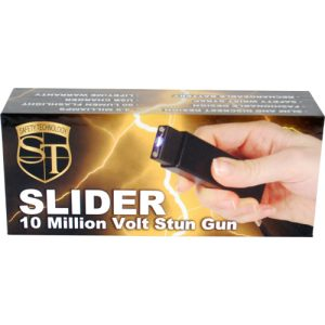 Slider 10 million volt stun gun flashlight 4.9 milliamps Black