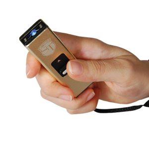 Slider 10 million volt stun gun flashlight 4.9 milliamps Gold
