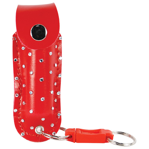 WildFire Pepper Spray And Rhinestone Leatherette Holster – Red